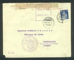 Lettre De Franceville Pour Besançon - Centre Douanier De Besançon - Admis Sans Visite - Recommandée - Marcophilie (Lettres)