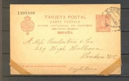 1903 BARCELONA, ENTERO POSTAL ED. 42, CIRCULADO A LONDRES - 1850-1931