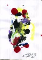 PIERRE BIB ART ABSTAIT SUR PAPIER VERNIS 20X30 SIGNE ET CONTRESIGNE AU DOS 2002 EXPÉDITION GRATUITE - Acrilici