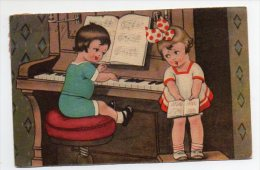 Children Play Piano Illustrator Artist Drawn Postcard Ca1900 Vintage Original Postcard Cpa Ak (W4_823) - Zonder Classificatie
