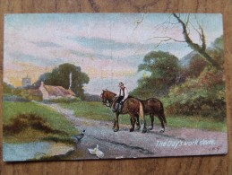 42761 POSTCARD: The Day's Work Done. - Folklore