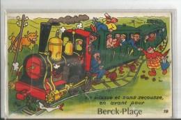 BERCK  TRAIN EN VTESSE ET SANS SECOUSSE    CARTE SYSTEME DEPLIANT ACCORDEON  CERF VOLANT VOLE VOLE - Berck