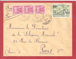 N°Y&T  N°TX 75X3 (BANDE DE 3)TANANARIVE      Vers    FRANCE  Le     1957  2 SCANS - Postmark Collection (Covers)