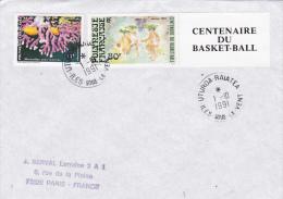 CENTENAIRE DU BASKET-BALL 80F POLYNESIE Sur Lettre Obl UTUROA-RAIATEA ILES SOUS LE VENT - Oceanie - French Polynesia