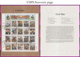 #2975 U/A SOUVENIR PAGE FDC SvSht  Civil War Souvenier Sheet - First Day Covers (FDCs)
