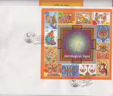 India  2010  Astronomy  Astrology  Zodiac Signs  12v  Sheet ON  Plain First Day Cover   # 84320  Inde  Ind - Astrology