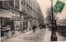 Cpa  75  Paris 4eme,ile Saint-louis Le Quai De Bourbon Anime, Ouvriers Refaisant Les Trottoirs - Arrondissement: 04