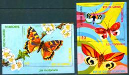 Guinea Equatorial 1976 Butterflies 2 Bl. S/S MNH - Equatorial Guinea