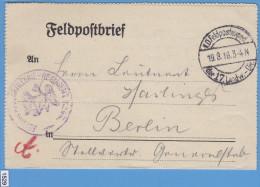 FELDPOST WW1; Briefstempel 19.8.1916, Der 17. Ladw. Div. - Guerre Mondiale (Première)