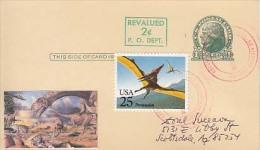 USA Airmail Postcard, Dinosaurs,    (Z-9632) - Fossili