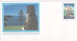 Norfolk Island,1981 Views,Captain Cook Monument, Pre Stamped Envelope 001  Mint - Norfolk Island