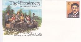 Norfolk Island,1986 The Pitcairners ,Fletcher C. Nobbs, Pre Stamped Envelope 017 Mint - Norfolk Island