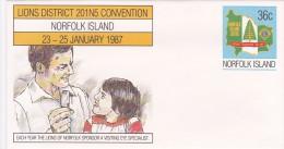 Norfolk Island,1987Lions, Pre Stamped Envelope 019  Mint - Norfolk Island