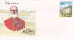 Norfolk Island,1988 Penal Commandant,Joseph Anderson, Pre Stamped Envelope 024 Mint - Norfolk Island