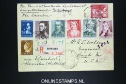 Netherlands: Airmail Registered Card Vijverbosch  Harmelen - Lisboa - USA 1941 , NVPH 392 - 396 - 1891-1948 (Wilhelmine)