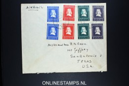 Netherlands: Airmail Cover Leiden To San Antonio Texas USA 1952 NVPH 578 - 581 Twice - Periodo 1949 – 1980 (Juliana)