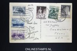 Netherlands: Airmail Card Leiden To San Antonio USA 1950 NVPH 550- 555 - Periodo 1949 – 1980 (Juliana)