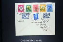 Netherlands: Airmail Cover Leiden To San Antonio USA 1952 NVPH 583 - 587 - Periodo 1949 - 1980 (Giuliana)