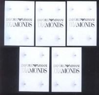 5 X Singapore Perfume Cards Carte Parfumee --  EMPORIO ARMANI DIAMONDS - Perfume Cards