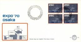 E103 Met Blok Van 4 - Blanco / Open Klep - FDC