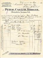 PETER,CAILLER,KOHLER. - SUPERBE FACTURE A ENTETE-1912 - Suisse
