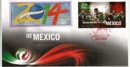 FOOTBALL. Selection Nationale Du Mexique (Marquez,Peralta,Hernandez,Layùn) FDC Année 2014 - Clubs Mythiques