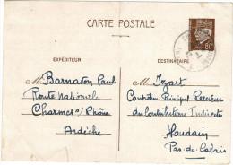 FRANCIA - France - PETAIN - 1942 - 80 - Carte Postale - Post Card - Intero Postale - Entier Postal - Postal Stationar... - Biglietto Postale