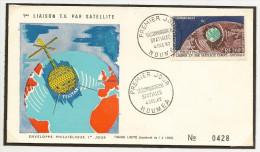 Nouvelle Caledonie Premier Jour N° 73  Telecomunications Spaciales 4 Decembre 1962 , Tirage 1500 Ex - Luftpost