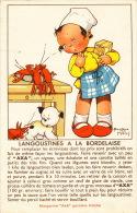 ENFANTS - Jolie Carte Fantaisie Recette LANGOUSTINES À LA BORDELAISE - Pub. MARGARINE AXA  - MABEL LUCIE ATTWELL - Attwell, M. L.