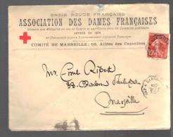 FRANCE 1912 N° 138 Obl. S/Lettre Association Des Dames Françaises Croix Rouge - Marcophilie (Lettres)