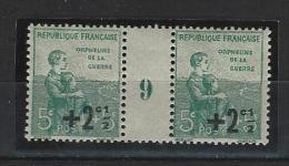 """Millésime YT 163 """" Orphelins  +2c. S. 5c. +5c. Vert """" 1919 Neuf** - Millésimes"""