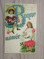 Cp/pk 1906 Bonne Année Enfants Children Fleurs Embossed - Nouvel An