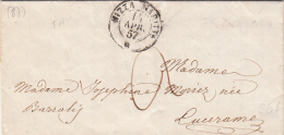 14 APR. 1857.  CACHET SARDE NIZZA MARITTA. DE LA TRINITE (TRINITA VITORIO)  à  LUCERAM. VERSO CACHET SARDE SCARENA/5938 - 1849-1876: Période Classique