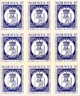 LABEL / STICKER - NORWEX 97 - INTERNATIONAL STAMP EXHIBITION - OSLO 1997 - BLOCK OF 9, LION THEME - Stickers