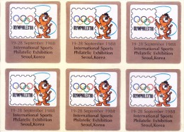 LABEL / STICKER - OLYMPHILEX 1988 - INTERNATIONAL SPORTS PHILATELIC EXHIBITION, SEOUL, KOREA, BLOCK OF 6 - Stickers