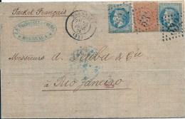 29 (2ex) et 31 de Bordeaux pour Rio Janeiro (Br�sil)  - voie fran�aise -  Tr�s Belle pi�ce, TB