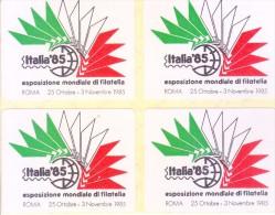 LABEL / STICKER - ITALIA 1985 - INTERNATIONAL STAMP EXHIBITION - BLOCK OF 4 LABELS - Stickers