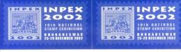 LABEL / STICKER - INPEX 2002 - 10TH INTERNATIONAL STAMP EXHIBITION - BLOCK OF 2 - Stickers