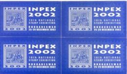 LABEL / STICKER - INPEX 2002 - 10TH INTERNATIONAL STAMP EXHIBITION - BLOCK OF 4 - Stickers
