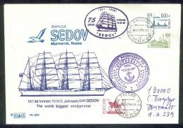 "RUSSIA 1996 COVER Used ""SEDOV"" SAILING SHIP BARQUE VINNEN JOHNSON VOILIER VOILE BATEAU SCHIFF TRANSPORT MURMANSK Mailed - Barche"