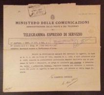 1943 - TELEGRAMMA - ESPRESSO DI SERVIZIO - SERVIZIO RURALE A S.VINCENZO (LIVORNO) - MOD.25 QUATER EDIZIONE 1934 - Marcophilia