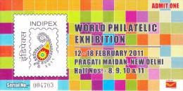 OFFICIAL GATE PASS - INDIPEX 2011, NEW DELHI - WORLD PHILATELIC EXHIBITION - Programs