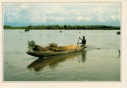 SUDAN. BARCA CARICA DI PAPIRI SUL NILO     (NUOVA  CON DESCRIZIONE DEL LUOGO SUL RETRO) - Sudan