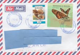 Z3] Enveloppe Cover Burundi Insecte Insect Papillon Butterfly NON Dentelé Sur Lettre IMPERF On Letter - Papillons