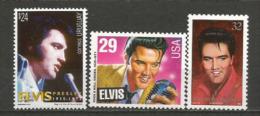 ELVIS.  25 Ans De La Disparition Du King.   3 T-p Neufs ** Des Etats-Unis,îles Marshall,Uruguay.  Côte 12,00 € - Elvis Presley