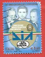ITALIA REPUBBLICA USATO - 2012 - 20º Anniversario Della Direzione Investigativa Antimafia - DIA -  € 0,60 - S. 3342 - 6. 1946-.. Republic