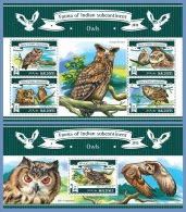 mld15302ab Maldives 2015 Birds Owls 2 s/s