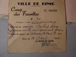RECU DE CAMPING DE LA VILLE DE BINIC. 1958. COTES D ARMOR. 22. CAMP DES FAUVETTES - Sports & Tourisme