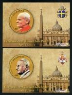 Pilipinas - Philippines (2014)  - 2 Blocks -   /  Popes - Canonization John Paul II - John XXIII - Pausen