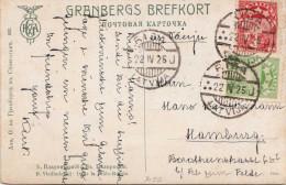 Lithuania 1925-2 Fold Postage + 3 Stamp On Artist Postcard -- Litauen 1925 - 2 Fach Frankierung + 3 Stempel Auf Ak ... - Litauen